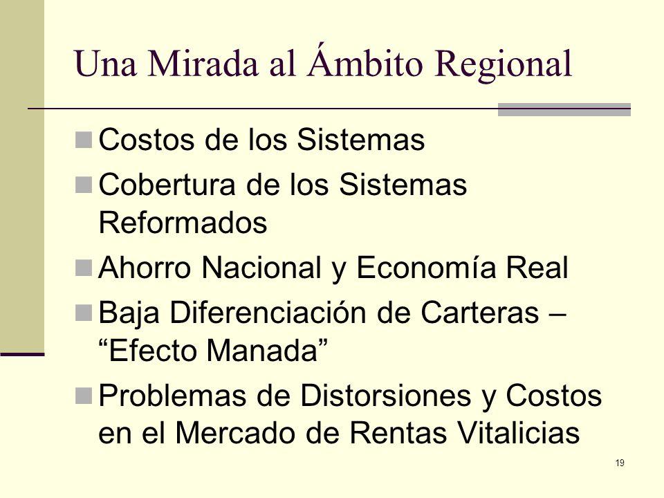 19 Una Mirada al Ámbito Regional Costos de los Sistemas Cobertura de los Sistemas Reformados Ahorro Nacional y Economía Real Baja Diferenciación de Ca