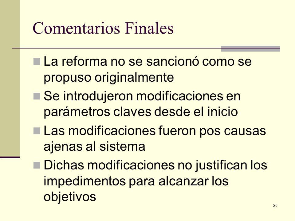 20 Comentarios Finales La reforma no se sancionó como se propuso originalmente Se introdujeron modificaciones en parámetros claves desde el inicio Las