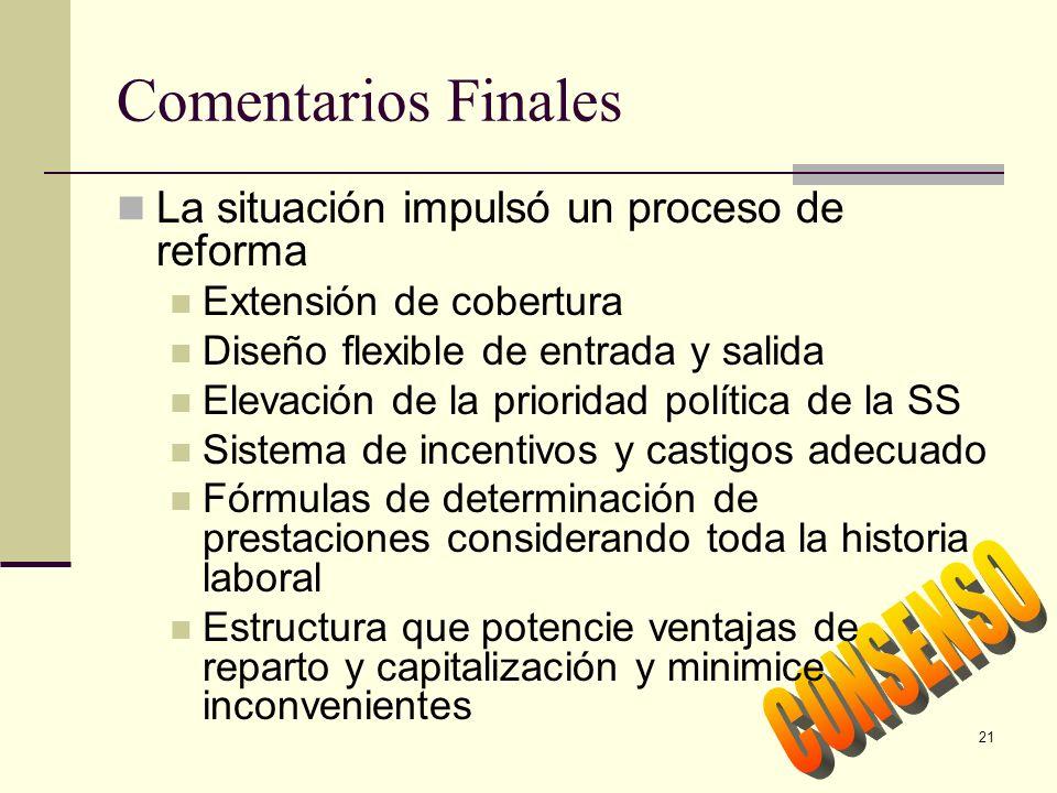 21 Comentarios Finales La situación impulsó un proceso de reforma Extensión de cobertura Diseño flexible de entrada y salida Elevación de la prioridad