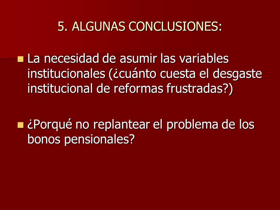5. ALGUNAS CONCLUSIONES: La necesidad de asumir las variables institucionales (¿cuánto cuesta el desgaste institucional de reformas frustradas?) La ne