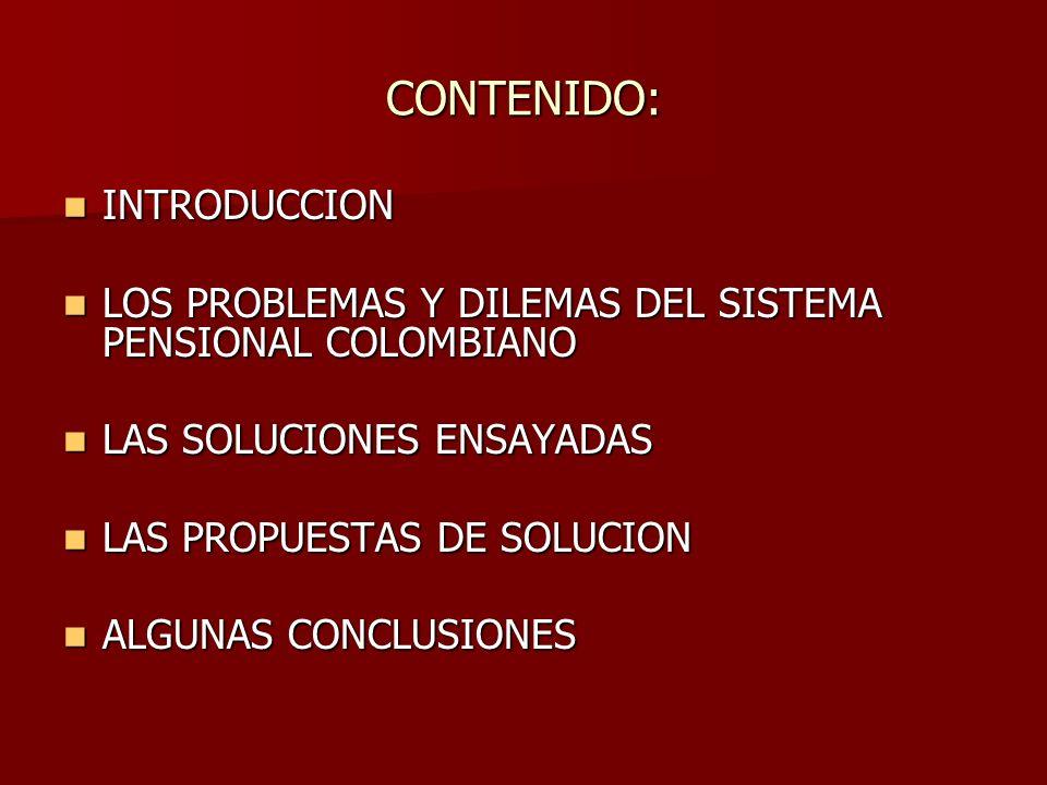 CONTENIDO: INTRODUCCION INTRODUCCION LOS PROBLEMAS Y DILEMAS DEL SISTEMA PENSIONAL COLOMBIANO LOS PROBLEMAS Y DILEMAS DEL SISTEMA PENSIONAL COLOMBIANO