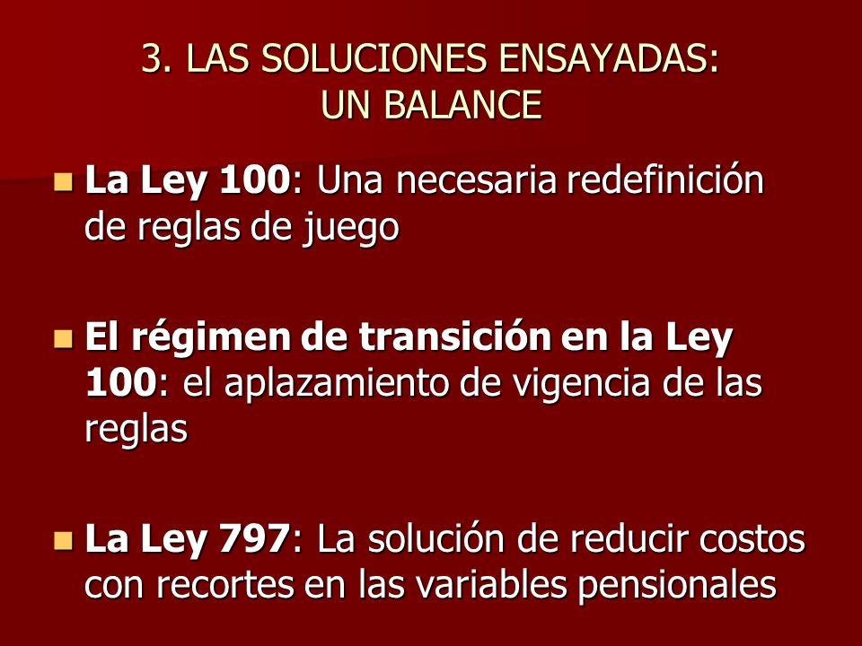 3. LAS SOLUCIONES ENSAYADAS: UN BALANCE La Ley 100: Una necesaria redefinición de reglas de juego La Ley 100: Una necesaria redefinición de reglas de