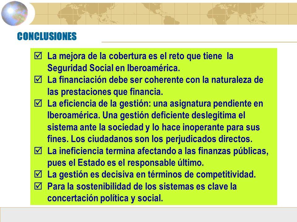 CONCLUSIONES La mejora de la cobertura es el reto que tiene la Seguridad Social en Iberoamérica.