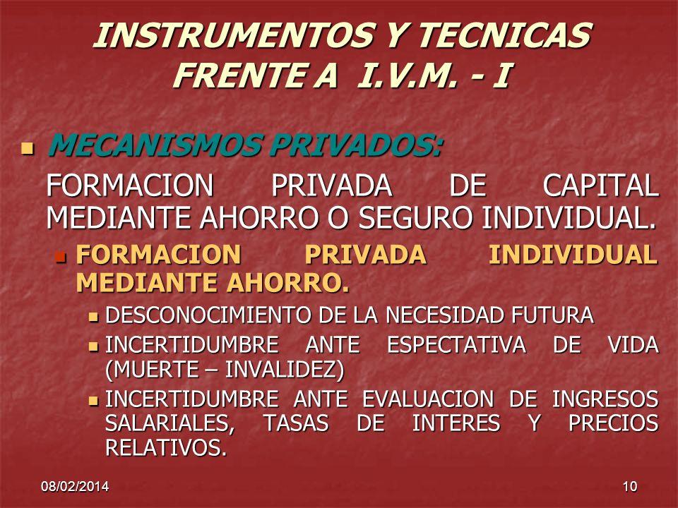 08/02/201410 INSTRUMENTOS Y TECNICAS FRENTE A I.V.M. - I MECANISMOS PRIVADOS: MECANISMOS PRIVADOS: FORMACION PRIVADA DE CAPITAL MEDIANTE AHORRO O SEGU