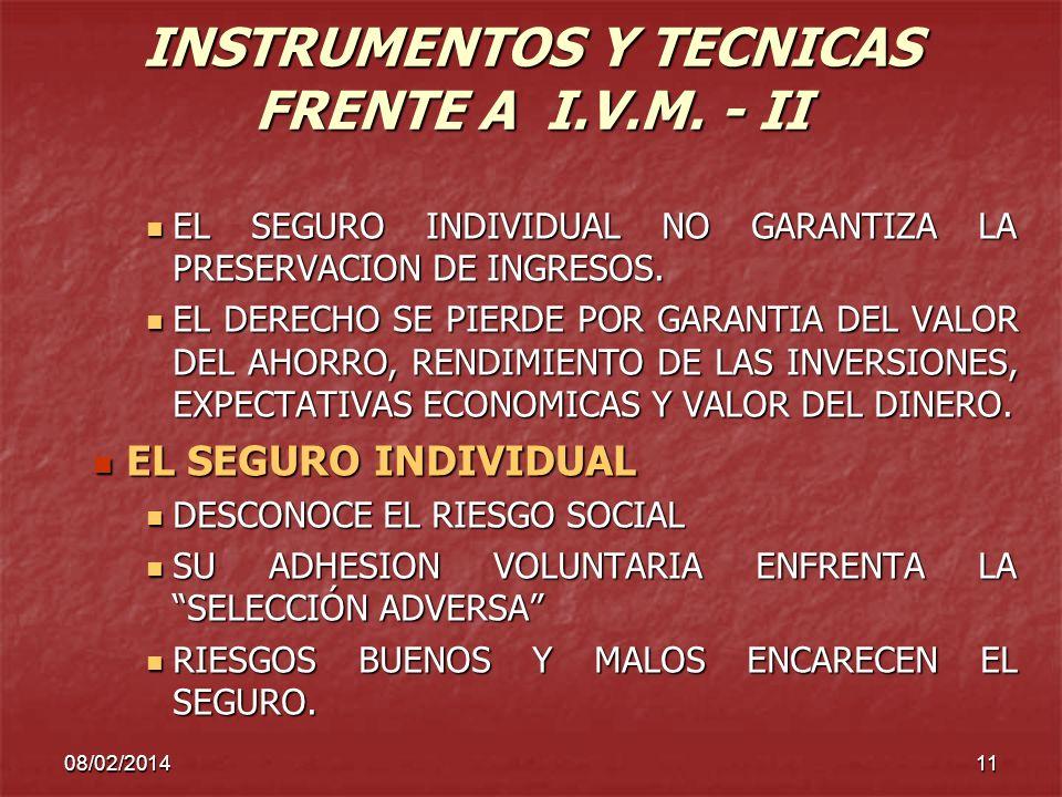 08/02/201411 INSTRUMENTOS Y TECNICAS FRENTE A I.V.M. - II EL SEGURO INDIVIDUAL NO GARANTIZA LA PRESERVACION DE INGRESOS. EL SEGURO INDIVIDUAL NO GARAN