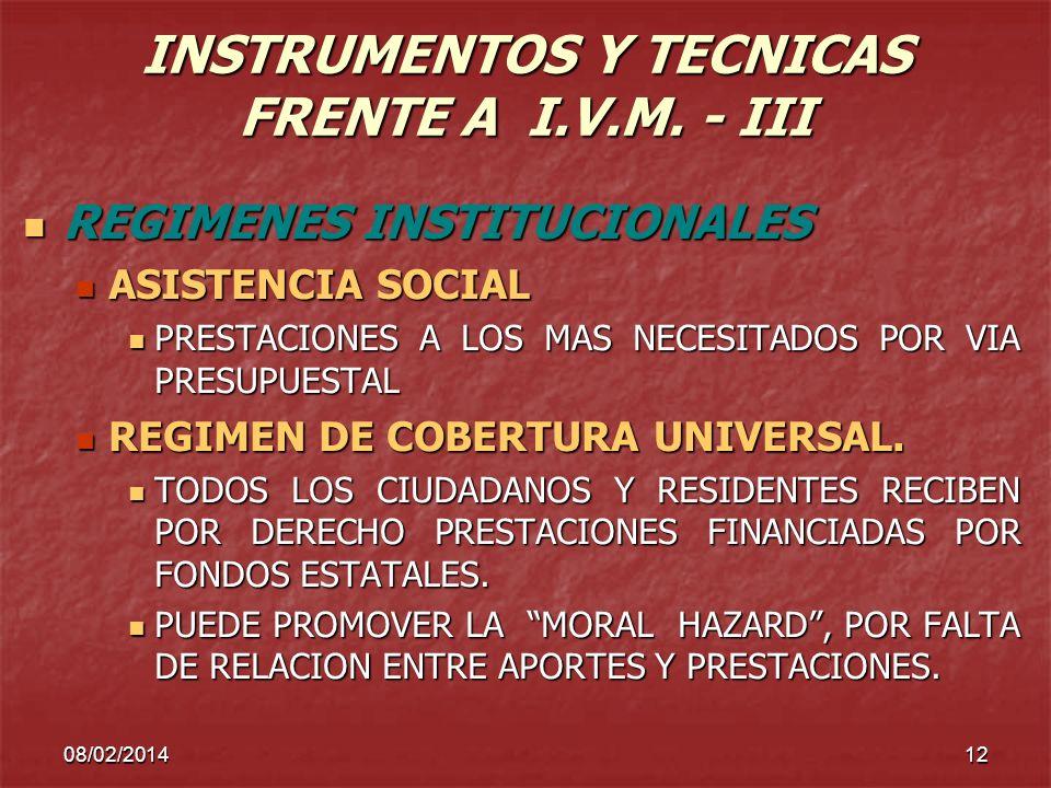 08/02/201412 INSTRUMENTOS Y TECNICAS FRENTE A I.V.M. - III REGIMENES INSTITUCIONALES REGIMENES INSTITUCIONALES ASISTENCIA SOCIAL ASISTENCIA SOCIAL PRE