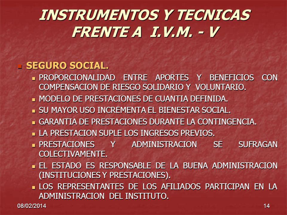 08/02/201414 INSTRUMENTOS Y TECNICAS FRENTE A I.V.M. - V SEGURO SOCIAL. SEGURO SOCIAL. PROPORCIONALIDAD ENTRE APORTES Y BENEFICIOS CON COMPENSACION DE