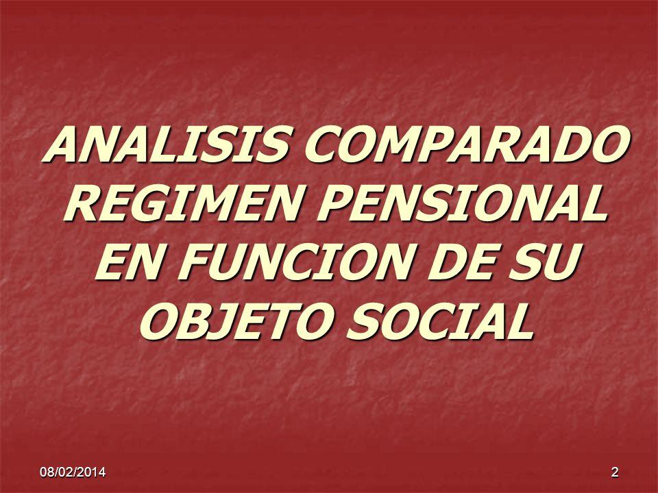 08/02/20142 ANALISIS COMPARADO REGIMEN PENSIONAL EN FUNCION DE SU OBJETO SOCIAL