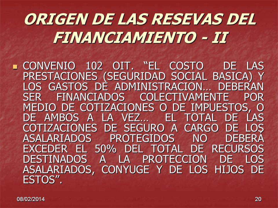 08/02/201420 ORIGEN DE LAS RESEVAS DEL FINANCIAMIENTO - II CONVENIO 102 OIT. EL COSTO DE LAS PRESTACIONES (SEGURIDAD SOCIAL BASICA) Y LOS GASTOS DE AD