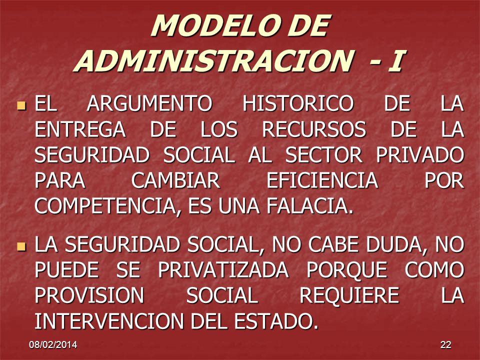 08/02/201422 MODELO DE ADMINISTRACION - I EL ARGUMENTO HISTORICO DE LA ENTREGA DE LOS RECURSOS DE LA SEGURIDAD SOCIAL AL SECTOR PRIVADO PARA CAMBIAR E