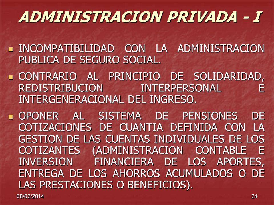 08/02/201424 ADMINISTRACION PRIVADA - I INCOMPATIBILIDAD CON LA ADMINISTRACION PUBLICA DE SEGURO SOCIAL. INCOMPATIBILIDAD CON LA ADMINISTRACION PUBLIC