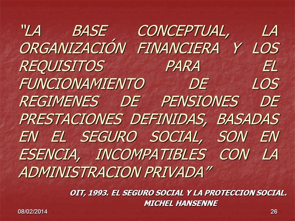 08/02/201426 LA BASE CONCEPTUAL, LA ORGANIZACIÓN FINANCIERA Y LOS REQUISITOS PARA EL FUNCIONAMIENTO DE LOS REGIMENES DE PENSIONES DE PRESTACIONES DEFI