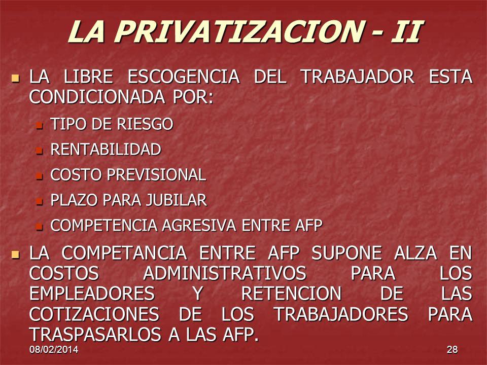 08/02/201428 LA PRIVATIZACION - II LA LIBRE ESCOGENCIA DEL TRABAJADOR ESTA CONDICIONADA POR: LA LIBRE ESCOGENCIA DEL TRABAJADOR ESTA CONDICIONADA POR: