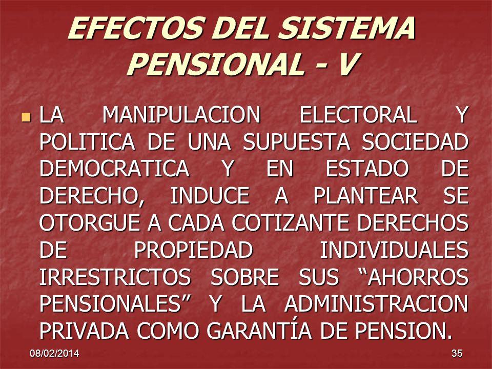 08/02/201435 EFECTOS DEL SISTEMA PENSIONAL - V LA MANIPULACION ELECTORAL Y POLITICA DE UNA SUPUESTA SOCIEDAD DEMOCRATICA Y EN ESTADO DE DERECHO, INDUC