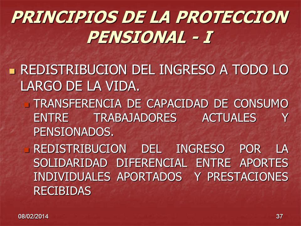 08/02/201437 PRINCIPIOS DE LA PROTECCION PENSIONAL - I REDISTRIBUCION DEL INGRESO A TODO LO LARGO DE LA VIDA. REDISTRIBUCION DEL INGRESO A TODO LO LAR