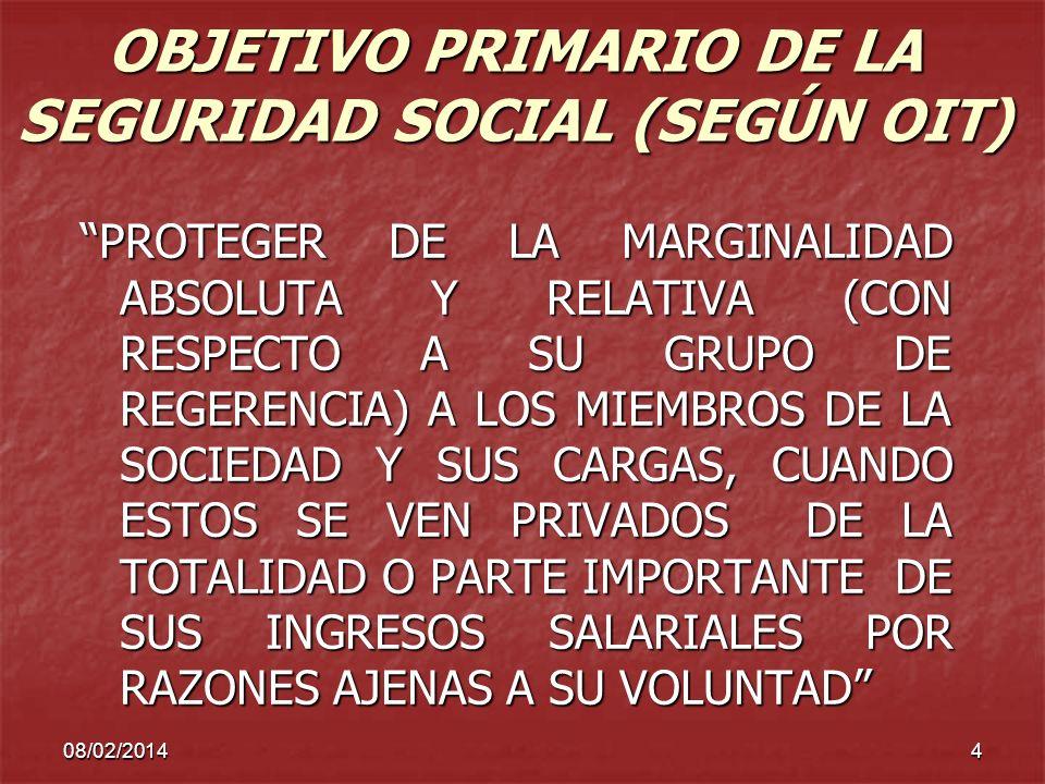 08/02/20144 OBJETIVO PRIMARIO DE LA SEGURIDAD SOCIAL (SEGÚN OIT) PROTEGER DE LA MARGINALIDAD ABSOLUTA Y RELATIVA (CON RESPECTO A SU GRUPO DE REGERENCI