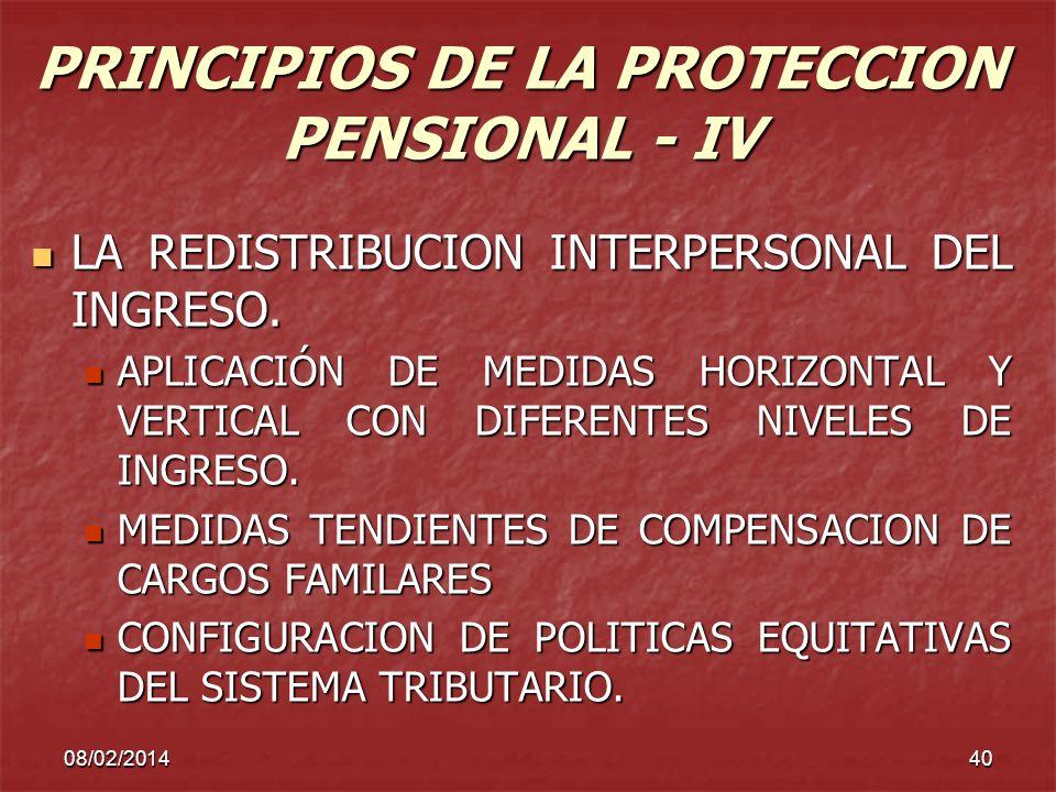 08/02/201440 PRINCIPIOS DE LA PROTECCION PENSIONAL - IV LA REDISTRIBUCION INTERPERSONAL DEL INGRESO. LA REDISTRIBUCION INTERPERSONAL DEL INGRESO. APLI