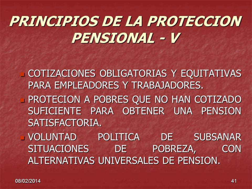 08/02/201441 PRINCIPIOS DE LA PROTECCION PENSIONAL - V COTIZACIONES OBLIGATORIAS Y EQUITATIVAS PARA EMPLEADORES Y TRABAJADORES. COTIZACIONES OBLIGATOR