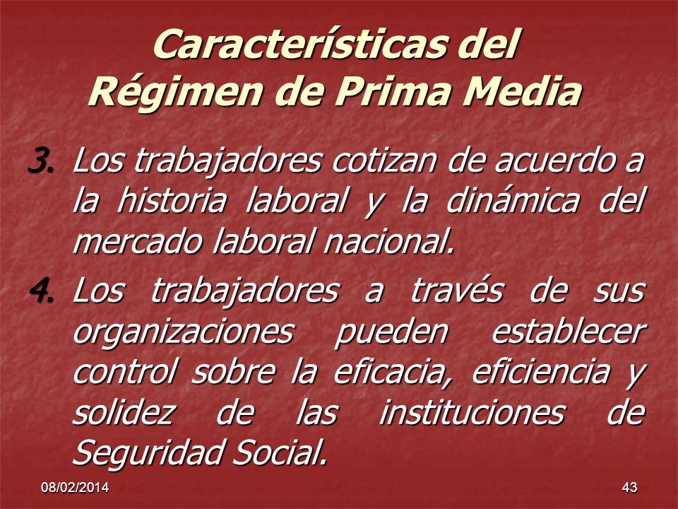 08/02/201443 Características del Régimen de Prima Media 3.Los trabajadores cotizan de acuerdo a la historia laboral y la dinámica del mercado laboral