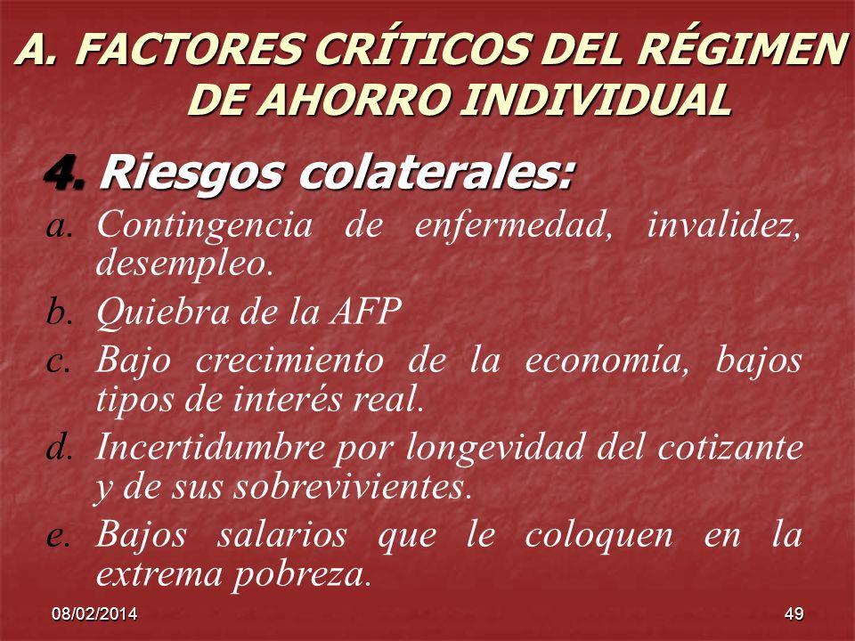 08/02/201449 A. FACTORES CRÍTICOS DEL RÉGIMEN DE AHORRO INDIVIDUAL 4.Riesgos colaterales: a.Contingencia de enfermedad, invalidez, desempleo. b.Quiebr