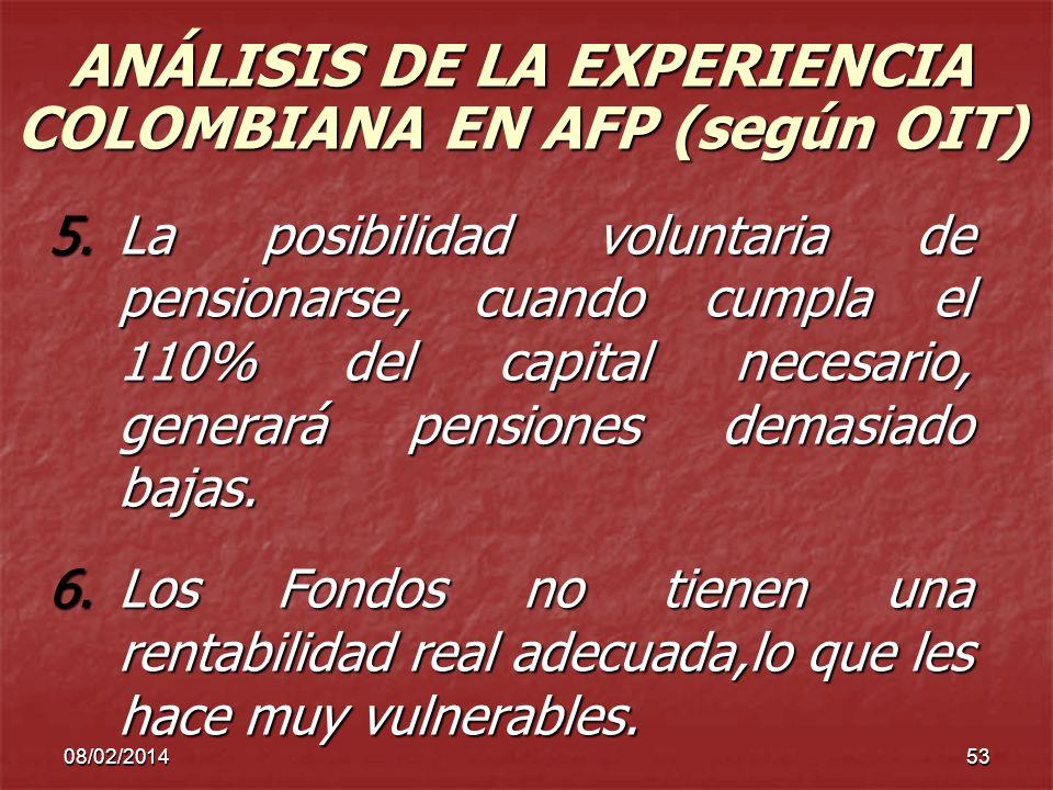 08/02/201453 ANÁLISIS DE LA EXPERIENCIA COLOMBIANA EN AFP (según OIT) 5.La posibilidad voluntaria de pensionarse, cuando cumpla el 110% del capital ne