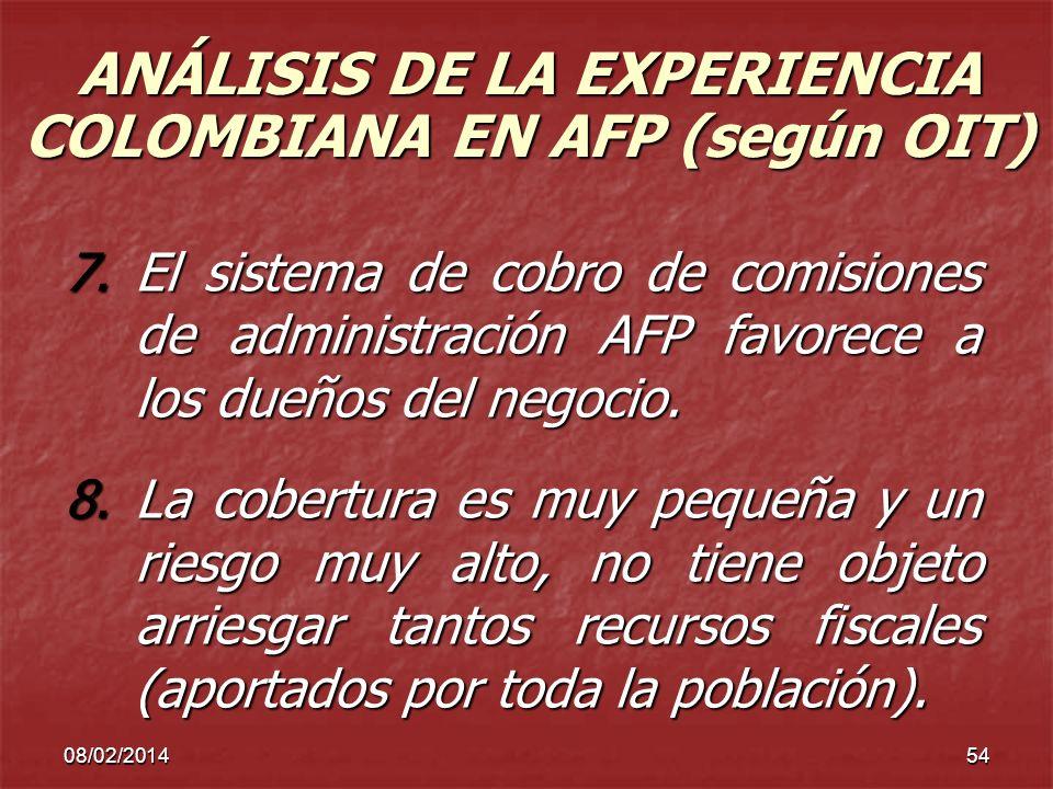 08/02/201454 ANÁLISIS DE LA EXPERIENCIA COLOMBIANA EN AFP (según OIT) 7.El sistema de cobro de comisiones de administración AFP favorece a los dueños