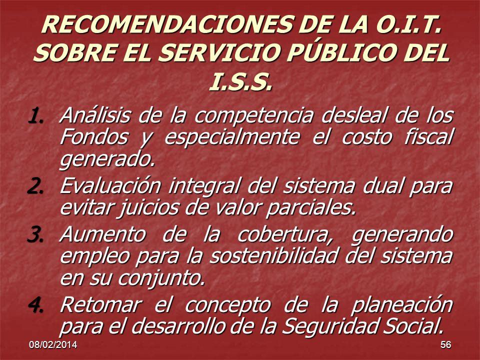 08/02/201456 RECOMENDACIONES DE LA O.I.T. SOBRE EL SERVICIO PÚBLICO DEL I.S.S. 1.Análisis de la competencia desleal de los Fondos y especialmente el c