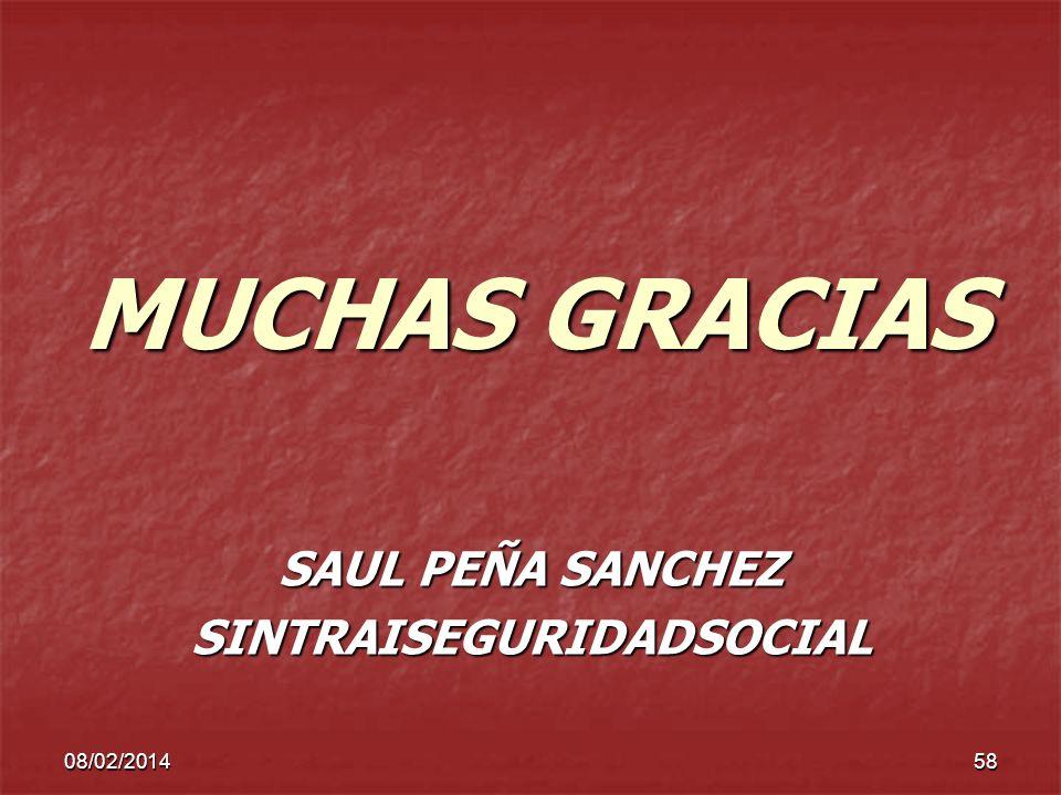 08/02/201458 MUCHAS GRACIAS SAUL PEÑA SANCHEZ SINTRAISEGURIDADSOCIAL