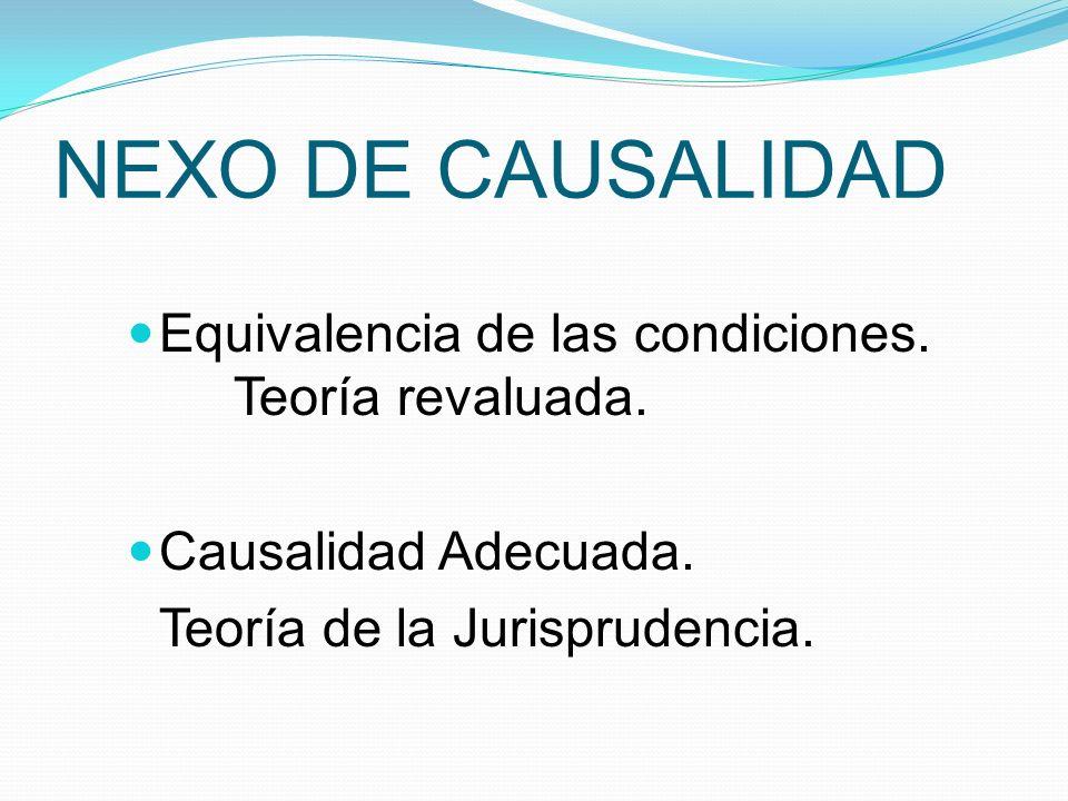 NEXO DE CAUSALIDAD Equivalencia de las condiciones.