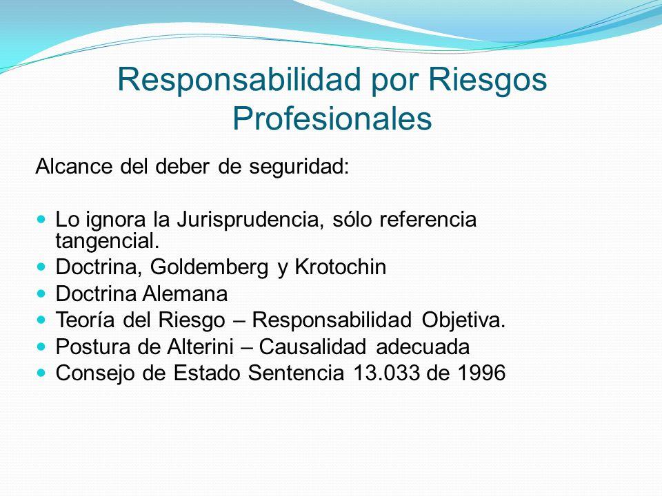 Responsabilidad por Riesgos Profesionales Alcance del deber de seguridad: Lo ignora la Jurisprudencia, sólo referencia tangencial.