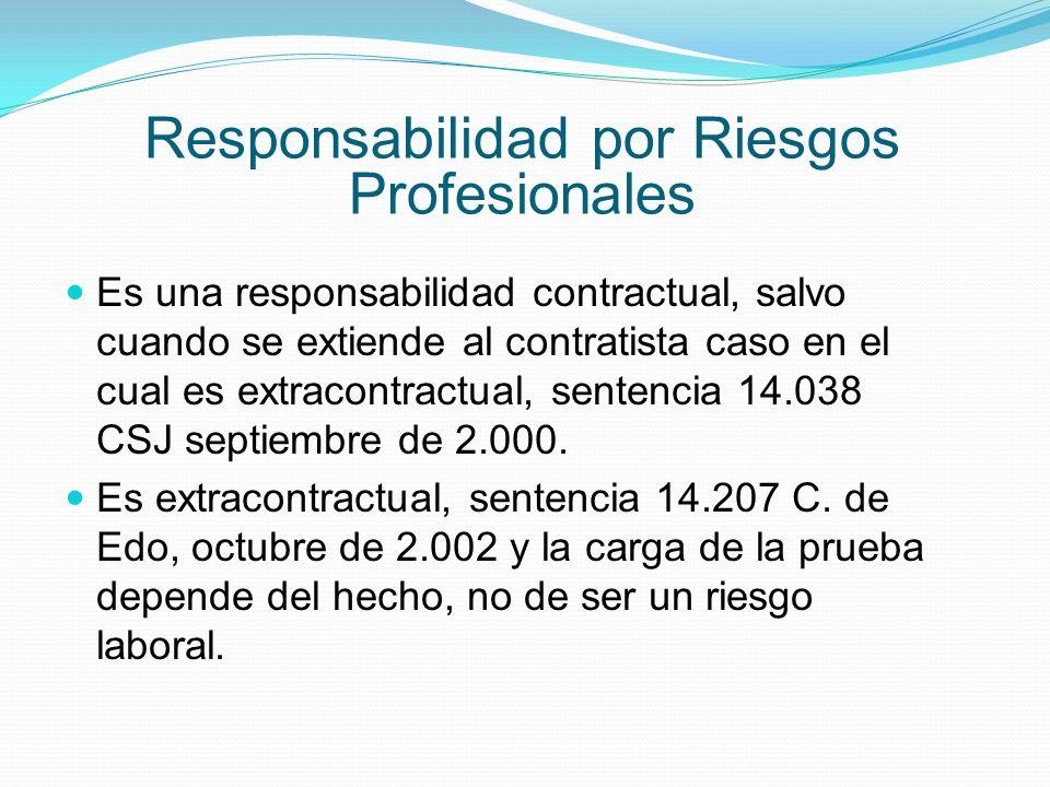Responsabilidad por Riesgos Profesionales Es una responsabilidad contractual, salvo cuando se extiende al contratista caso en el cual es extracontractual, sentencia 14.038 CSJ septiembre de 2.000.
