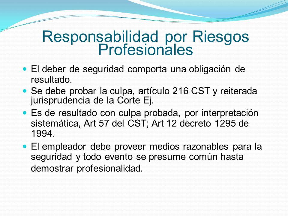 Responsabilidad por Riesgos Profesionales El deber de seguridad comporta una obligación de resultado.