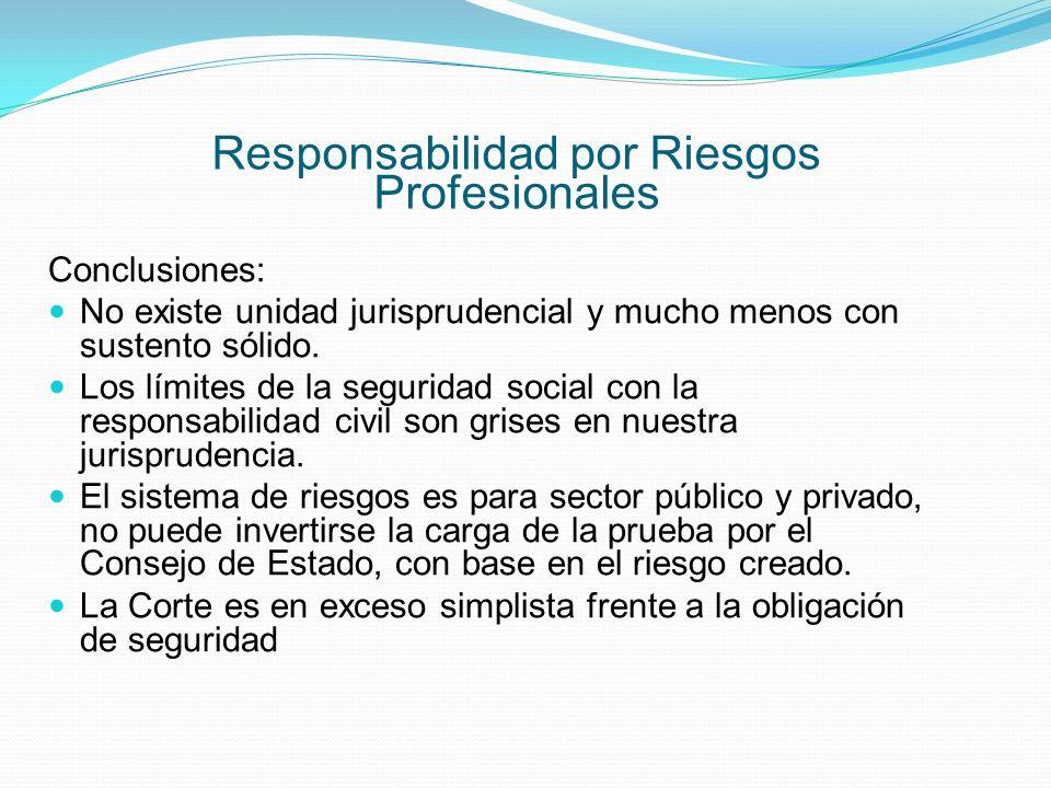 Responsabilidad por Riesgos Profesionales Conclusiones: No existe unidad jurisprudencial y mucho menos con sustento sólido.