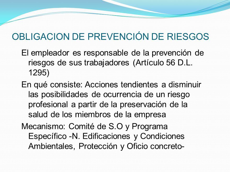 OBLIGACION DE PREVENCIÓN DE RIESGOS El empleador es responsable de la prevención de riesgos de sus trabajadores (Artículo 56 D.L.