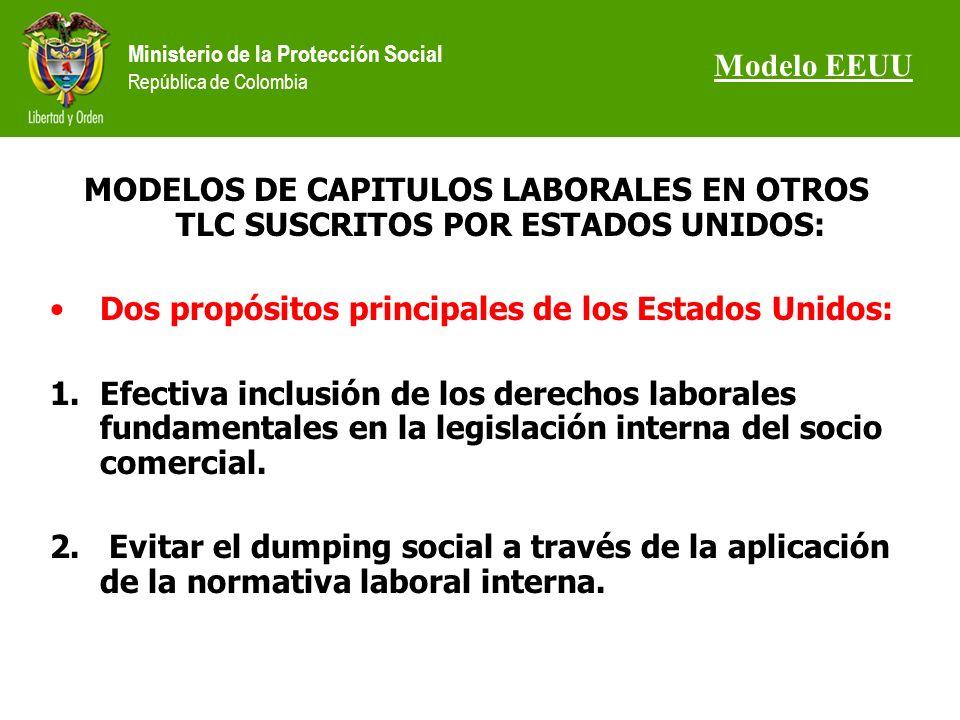 Ministerio de la Protección Social República de Colombia MODELOS DE CAPITULOS LABORALES EN OTROS TLC SUSCRITOS POR ESTADOS UNIDOS: Dos propósitos principales de los Estados Unidos: 1.Efectiva inclusión de los derechos laborales fundamentales en la legislación interna del socio comercial.