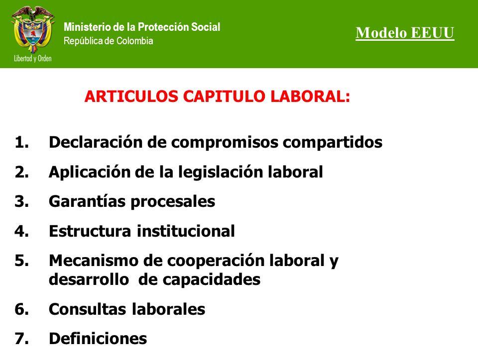 Ministerio de la Protección Social República de Colombia ARTICULOS CAPITULO LABORAL: 1.Declaración de compromisos compartidos 2.Aplicación de la legislación laboral 3.Garantías procesales 4.Estructura institucional 5.Mecanismo de cooperación laboral y desarrollo de capacidades 6.Consultas laborales 7.Definiciones Modelo EEUU