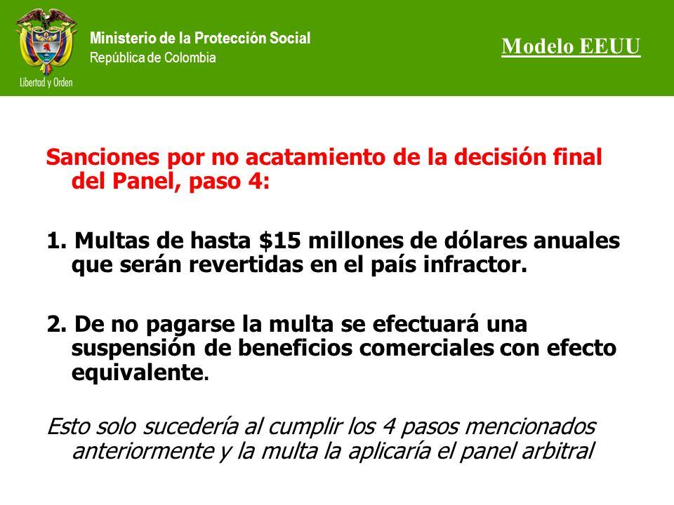 Ministerio de la Protección Social República de Colombia Sanciones por no acatamiento de la decisión final del Panel, paso 4: 1.