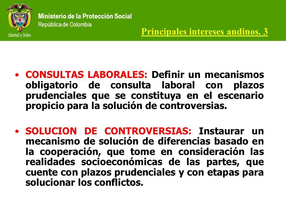 Ministerio de la Protección Social República de Colombia CONSULTAS LABORALES: Definir un mecanismos obligatorio de consulta laboral con plazos prudenciales que se constituya en el escenario propicio para la solución de controversias.