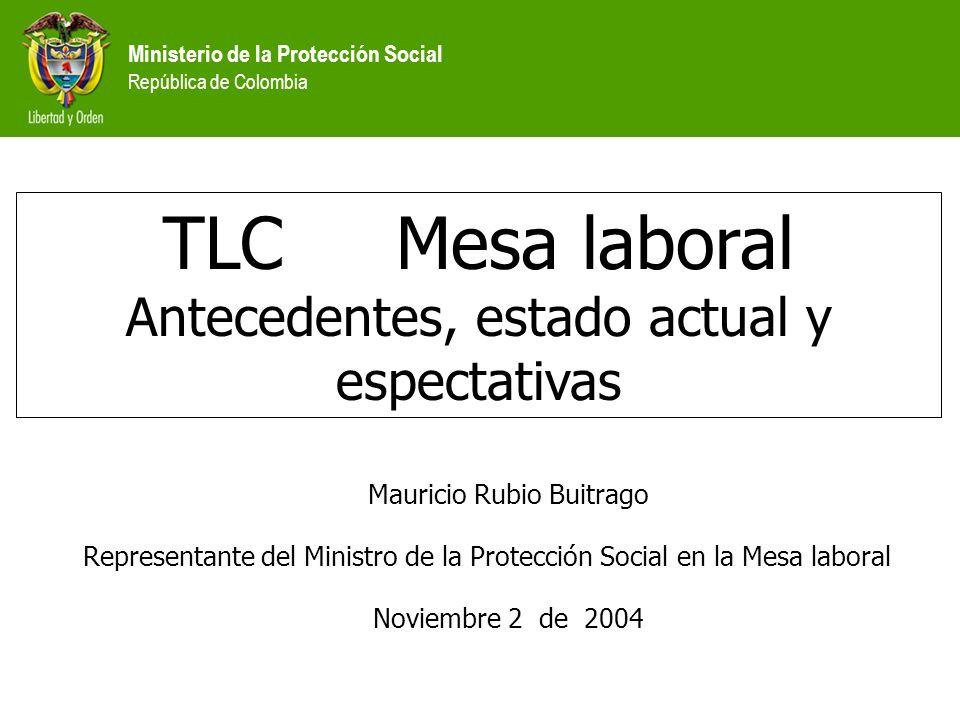 TLC Mesa laboral Antecedentes, estado actual y espectativas Mauricio Rubio Buitrago Representante del Ministro de la Protección Social en la Mesa laboral Noviembre 2 de 2004