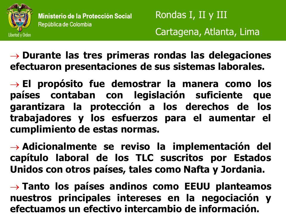 Ministerio de la Protección Social República de Colombia Rondas I, II y III Cartagena, Atlanta, Lima Durante las tres primeras rondas las delegaciones efectuaron presentaciones de sus sistemas laborales.