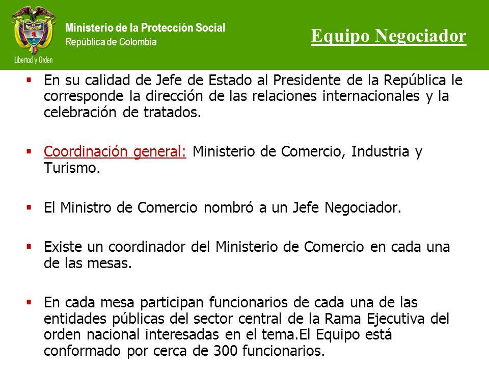 Ministerio de la Protección Social República de Colombia En su calidad de Jefe de Estado al Presidente de la República le corresponde la dirección de las relaciones internacionales y la celebración de tratados.