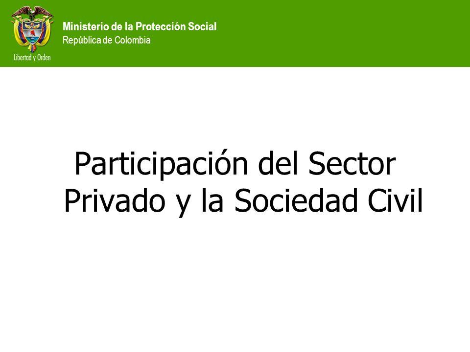 Ministerio de la Protección Social República de Colombia Participación del Sector Privado y la Sociedad Civil