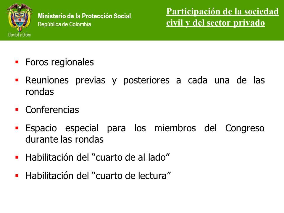 Ministerio de la Protección Social República de Colombia Foros regionales Reuniones previas y posteriores a cada una de las rondas Conferencias Espacio especial para los miembros del Congreso durante las rondas Habilitación del cuarto de al lado Habilitación del cuarto de lectura Participación de la sociedad civil y del sector privado
