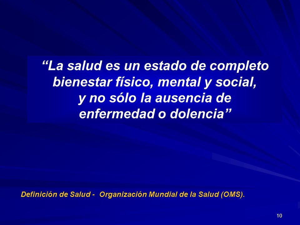 10 La salud es un estado de completo bienestar físico, mental y social, y no sólo la ausencia de enfermedad o dolencia Definición de Salud - Organizac