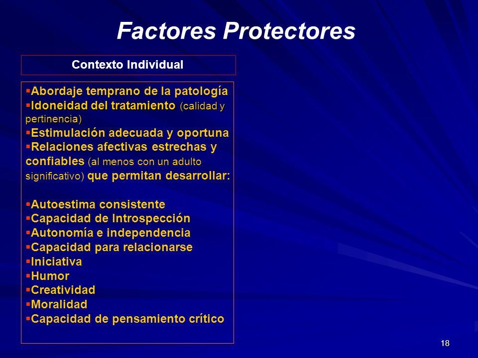 18 Factores Protectores Contexto Individual Abordaje temprano de la patología Idoneidad del tratamiento (calidad y pertinencia) Idoneidad del tratamie