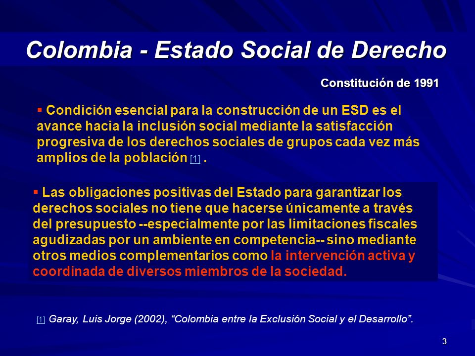 3 Colombia - Estado Social de Derecho Colombia - Estado Social de Derecho Constitución de 1991 Las obligaciones positivas del Estado para garantizar l