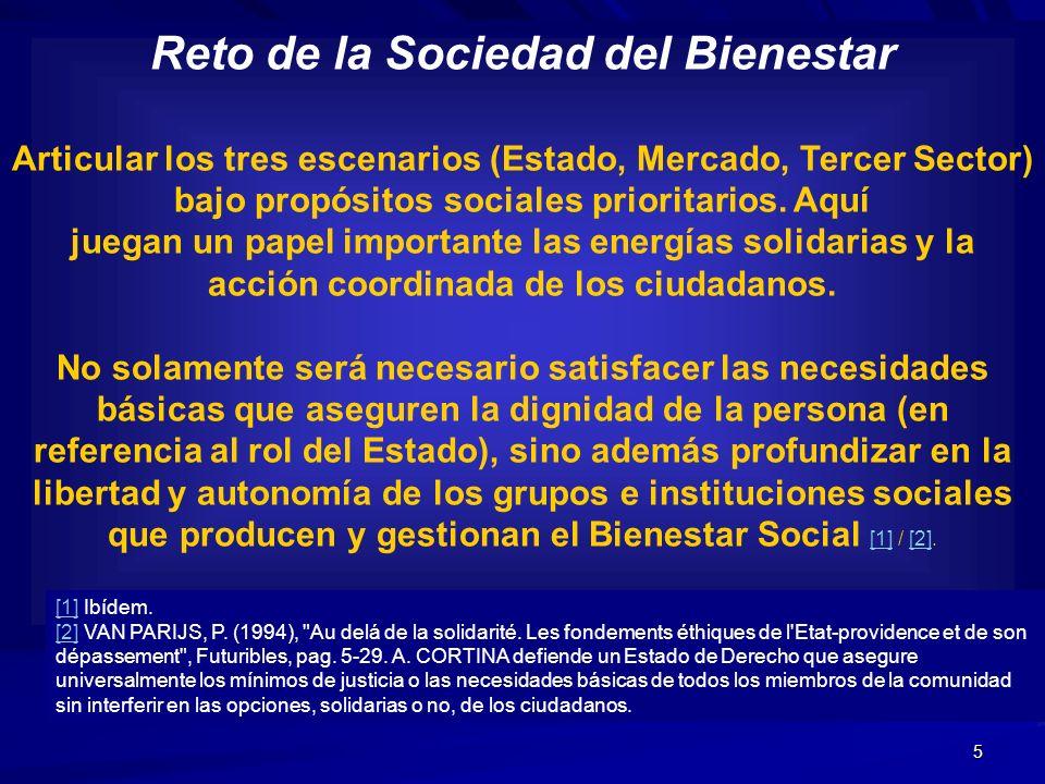 5 Reto de la Sociedad del Bienestar Articular los tres escenarios (Estado, Mercado, Tercer Sector) bajo propósitos sociales prioritarios. Aquí juegan