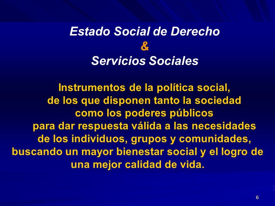 7 Servicios Sociales Generales Orientados a promover y posibilitar el desarrollo del Bienestar Social de todos los ciudadanos, así como elevar su calidad de vida.