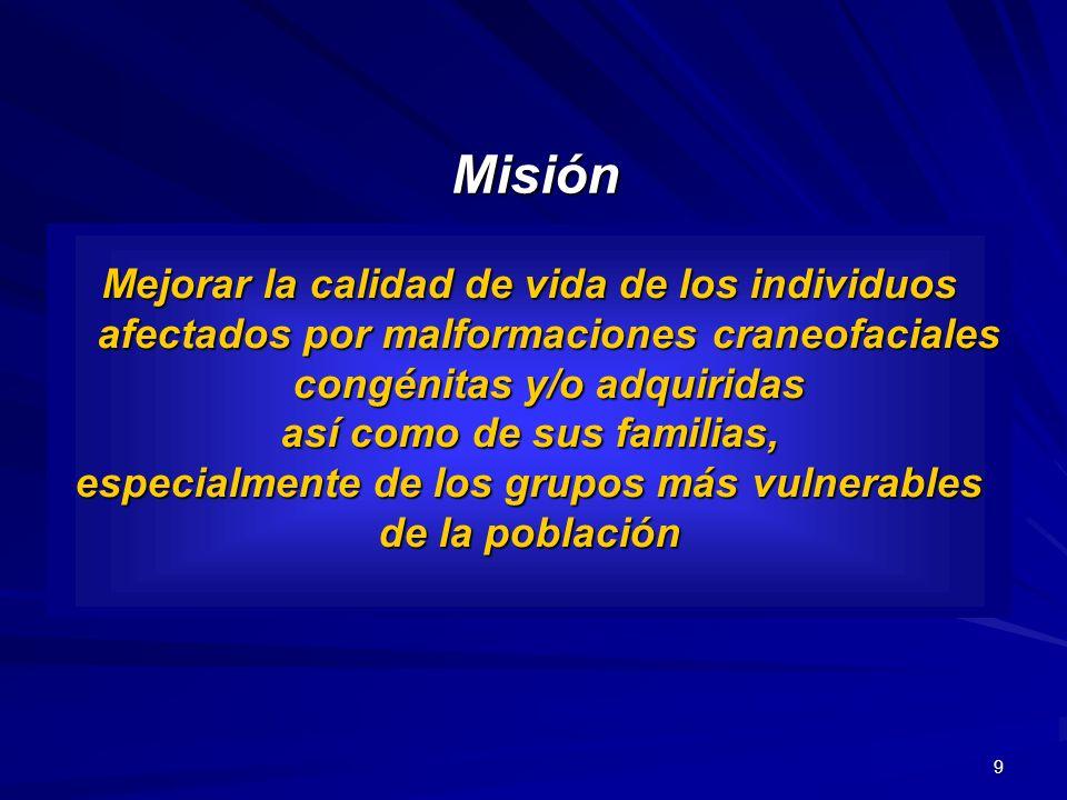 9 Misión Mejorar la calidad de vida de los individuos afectados por malformaciones craneofaciales congénitas y/o adquiridas así como de sus familias,
