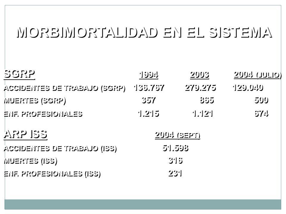 MORBIMORTALIDAD EN EL SISTEMA SGRP 1994 2003 2004 (JULIO) ACCIDENTES DE TRABAJO (SGRP) 136.767 279.275129.040 MUERTES (SGRP ) 357 865 500 ENF. PROFESI